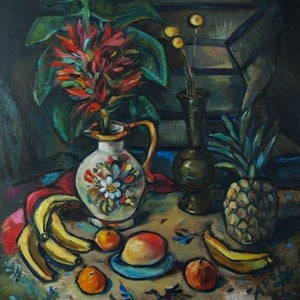(CreativeWork) Still Life with Gymea Lily by Katerina Apale. oil-painting. Shop online at Bluethumb.