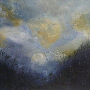 (CreativeWork) Moon rise over burnt country by Tom Koch. oil-painting. Shop online at Bluethumb.