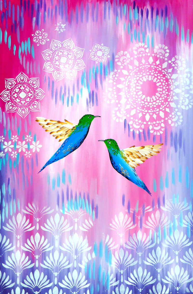 (CreativeWork) Hummingbirds on pink and purple by Cathy Jacobs. arcylic-painting. Shop online at Bluethumb.