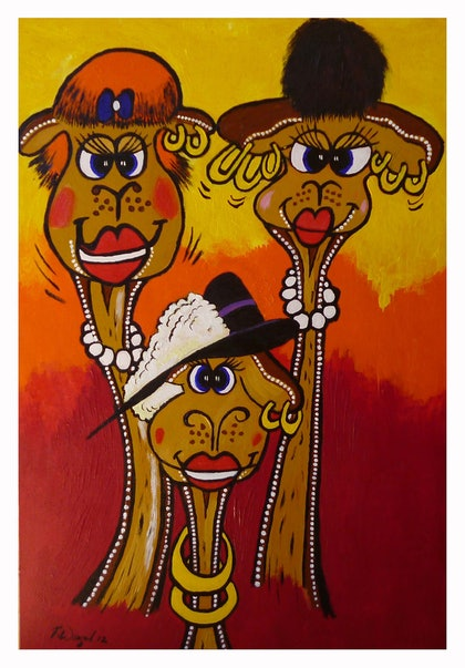 (CreativeWork) Camel Girls by Robert Wiezel. oil-painting. Shop online at Bluethumb.