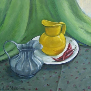(CreativeWork) Still life with chilies by Liza Merkalova. oil-painting. Shop online at Bluethumb.