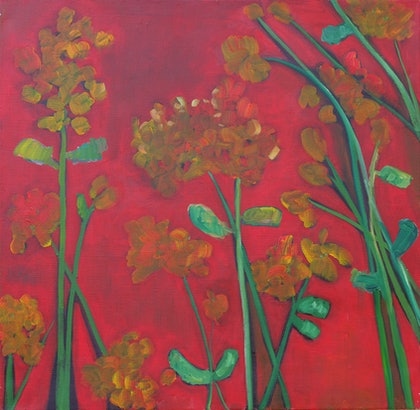 (CreativeWork) Geranium by Michelle Sanger. oil-painting. Shop online at Bluethumb.