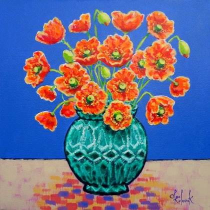 (CreativeWork) Red Poppies in Green Vase by Olga Kolesnik. arcylic-painting. Shop online at Bluethumb.