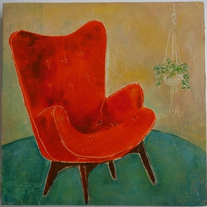 (CreativeWork) The perfect chair by Michelle Sanger. oil-painting. Shop online at Bluethumb.