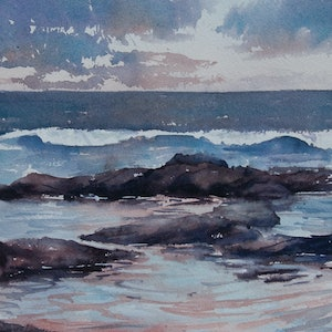 (CreativeWork) Twilight Rockpools by Cheryl Bruce. #<Filter:0x00007fcaf5ccdef0>. Shop online at Bluethumb.