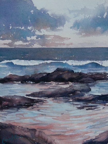 (CreativeWork) Twilight Rockpools by Cheryl Bruce. watercolour. Shop online at Bluethumb.