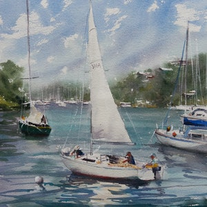 (CreativeWork) Mosman Bay by Cheryl Bruce. watercolour. Shop online at Bluethumb.