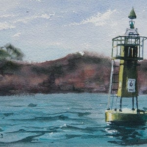 (CreativeWork) Sydney Harbour Study by Cheryl Bruce. watercolour. Shop online at Bluethumb.