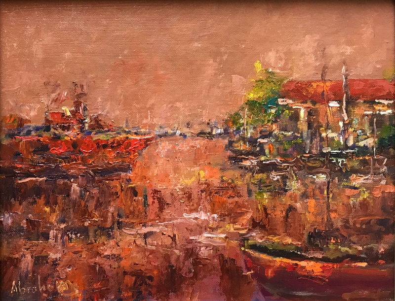 (CreativeWork) Fishing Harbour by Robert Abrahams. oil-painting. Shop online at Bluethumb.