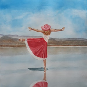 (CreativeWork) Yoga on the beach by Svetlana Cook. watercolour. Shop online at Bluethumb.