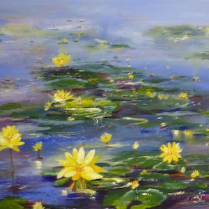 (CreativeWork) The Quiet Water garden by Sue Burton. arcylic-painting. Shop online at Bluethumb.