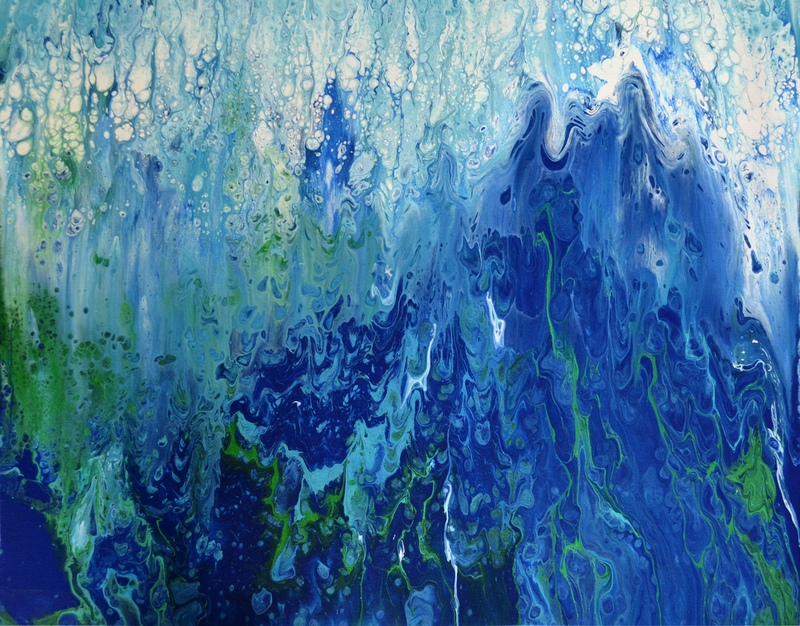 (CreativeWork) Abstract Waterfall 3 by Brigitte Ackland. arcylic-painting. Shop online at Bluethumb.