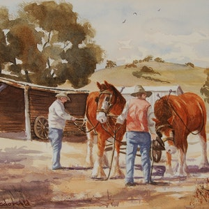(CreativeWork) Getting ready for the days work by Peter Macdonald. watercolour. Shop online at Bluethumb.