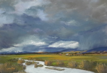 (CreativeWork) Stormy Skies. Landscape. by Lindy Whitton. drawing. Shop online at Bluethumb.