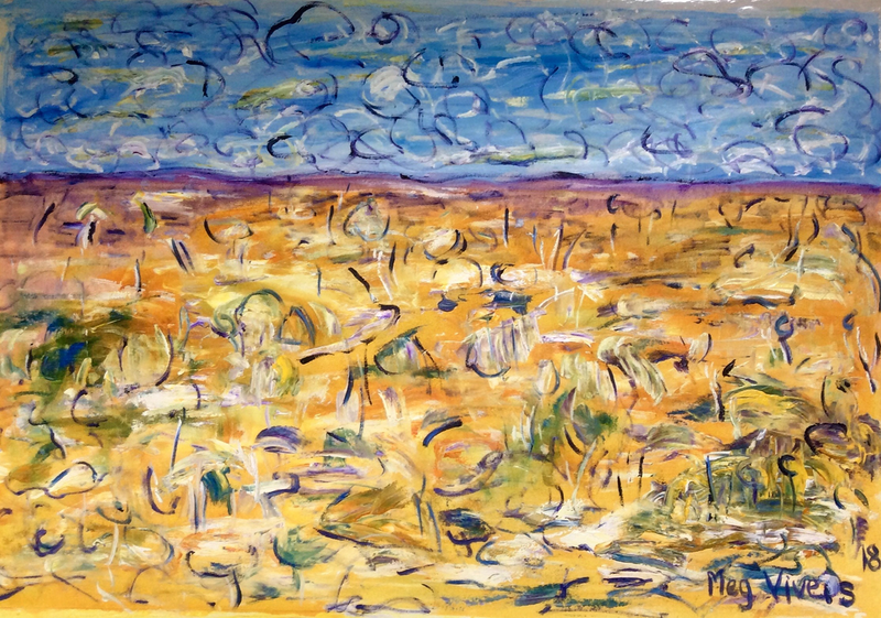 (CreativeWork) Summer Wind by Meg Vivers. arcylic-painting. Shop online at Bluethumb.