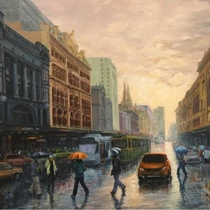 (CreativeWork) Passing Showers Flinders St  Melbourne by Cheng Huat Lee. arcylic-painting. Shop online at Bluethumb.