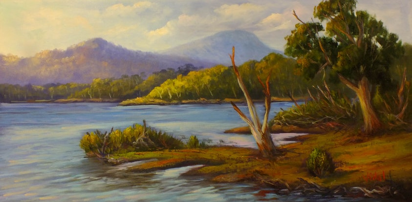 (CreativeWork) Lake St Clair, Tasmania Oil on loose canvas by Christopher Vidal. Oil Paint. Shop online at Bluethumb.
