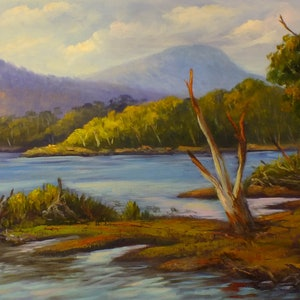 (CreativeWork) Lake St Clair, Tasmania Oil on loose canvas by Christopher Vidal. oil-painting. Shop online at Bluethumb.