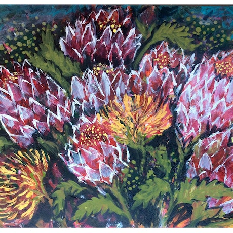 (CreativeWork) Bush Flowers by Cheryle Bannon. Acrylic Paint. Shop online at Bluethumb.