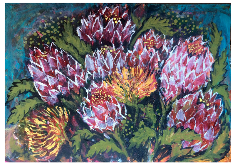 (CreativeWork) Bush Flowers by Cheryle Bannon. acrylic-painting. Shop online at Bluethumb.
