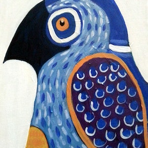 (CreativeWork) Fearless Finch by Dale Leach. arcylic-painting. Shop online at Bluethumb.