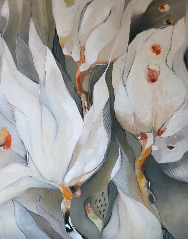(CreativeWork) Lillies and Pommegranite Seeds by Sam Suttie. oil-painting. Shop online at Bluethumb.