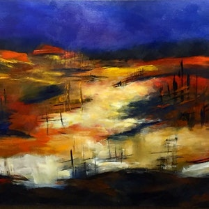 (CreativeWork) The Homestead by Jayne Wise. arcylic-painting. Shop online at Bluethumb.