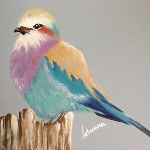 (CreativeWork) Lilac Breasted Roller by Adriana Nascimento. mixed-media. Shop online at Bluethumb.
