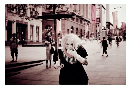 (CreativeWork) Mime a la Martin Place by Alex Weltlinger. photograph. Shop online at Bluethumb.