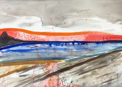 (CreativeWork) The Sea and Beyond Abstract by Sarah Poyser. watercolour. Shop online at Bluethumb.