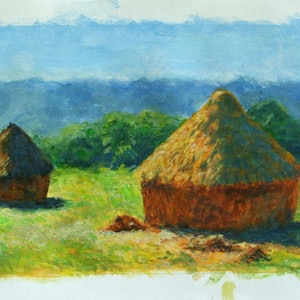 (CreativeWork) Study of Monet's Haystacks by John N Mason. arcylic-painting. Shop online at Bluethumb.