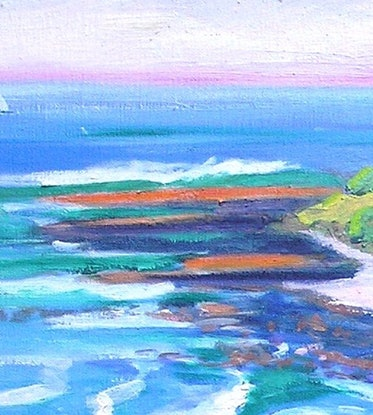 (CreativeWork) Angourie Headland Oil on Canvas  by Virginia McGowan. Oil Paint. Shop online at Bluethumb.