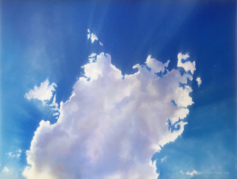 (CreativeWork) Cloud with Sunbeams by David Tracey. arcylic-painting. Shop online at Bluethumb.