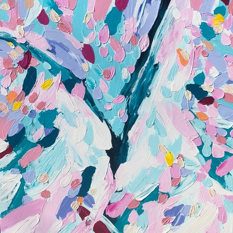 (CreativeWork) Love in Full Bloom by Sabi Klein. Acrylic Paint. Shop online at Bluethumb.