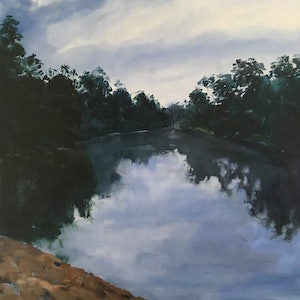(CreativeWork) Sandy Beach - Macintyre River by Meredith Howse. oil-painting. Shop online at Bluethumb.