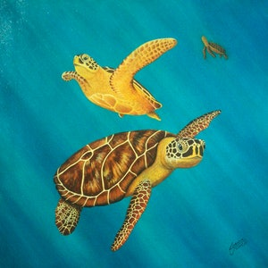 (CreativeWork) Living Free -Green  Sea Turtles by Linda Joyce. Acrylic Paint. Shop online at Bluethumb.