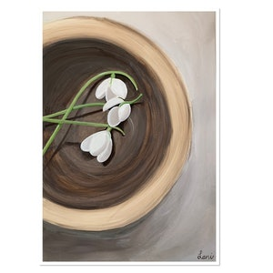 (CreativeWork) Snowdrops in a Bowl by Lani Kay. acrylic-painting. Shop online at Bluethumb.