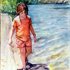 (CreativeWork) River Girl by Pam Fox. watercolour. Shop online at Bluethumb.