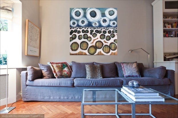 (CreativeWork) Floating Landscape 2 by Kitty Berton. Acrylic Paint. Shop online at Bluethumb.