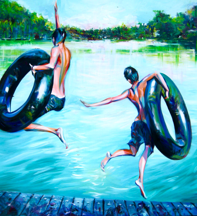 (CreativeWork) Boys of Summer by Ronzo Weideman. oil-painting. Shop online at Bluethumb.