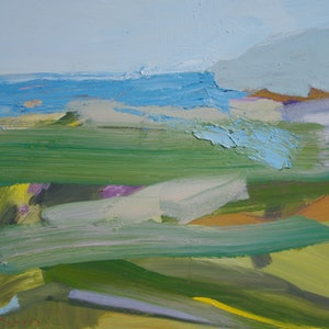 (CreativeWork) Spring Fields Study by Lise Temple. oil-painting. Shop online at Bluethumb.