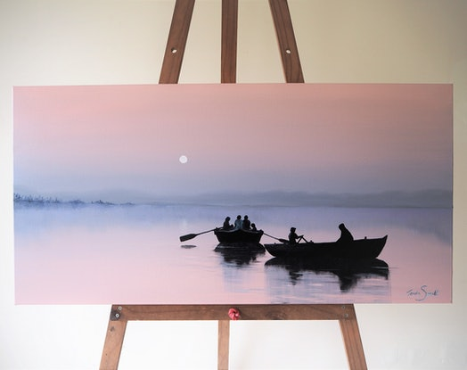 (CreativeWork) Dawn on the Ganges by Teresa Small. Oil. Shop online at Bluethumb.