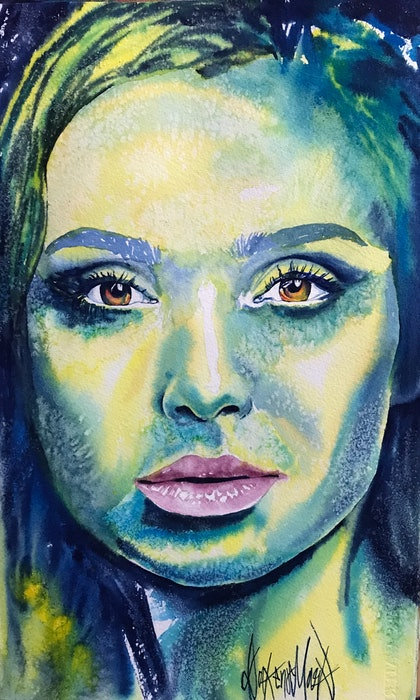 (CreativeWork) Gal by Dakeno Mark. watercolour. Shop online at Bluethumb.
