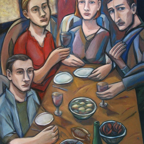 (CreativeWork) The guests by Liza Merkalova. Oil Paint. Shop online at Bluethumb.