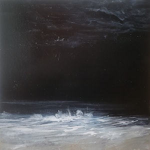 (CreativeWork) Night Beach by Andrea Edwards. arcylic-painting. Shop online at Bluethumb.