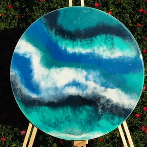 (CreativeWork) Waves - Resin on Art Board by Stracy Lewis. resin. Shop online at Bluethumb.