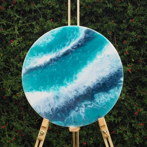 (CreativeWork) Shallow Tide - Resin on Art Board by Stracy Lewis. resin. Shop online at Bluethumb.