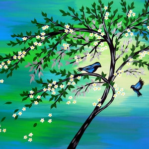 (CreativeWork) Tranquil birds in a tree by Cathy Jacobs. arcylic-painting. Shop online at Bluethumb.
