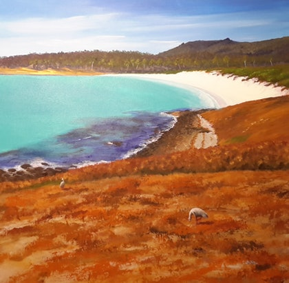 (CreativeWork) Dinner with a View- Maria Island seascape, Tasmania by Lindy Whitton. arcylic-painting. Shop online at Bluethumb.