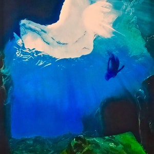 "(CreativeWork) ""into the deep"" Oil on linen by Monika Feuerstein. oil-painting. Shop online at Bluethumb."